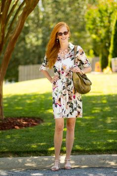 Turning Heads #Linkup Zara Floral Safari Shirtdress-Tips on Wearing the Shirtdress - Elegantly Dressed & Stylish - Over 40 Fashion Blog