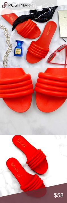 Tomato Red / Red-Orange Leather Slides Details: * Size 8.5 * Leather * Tomato red (red with an orange undertone rather than a true red in my opinion) * Comes with box box but was a store display; some of the color has rubbed off on one inner sole (see last photo), unnoticeable when worn and no wear to the outer soles  05281708 Splendid Shoes Sandals