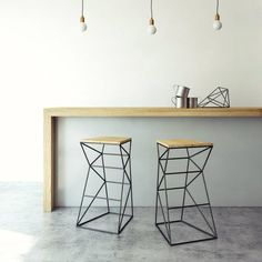 Geometric-furniture-stools-iron-wood Geometric-furniture-stools-iron-wood