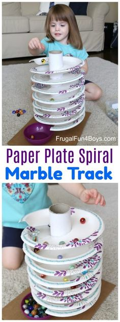 to Build a Paper Plate Spiral Marble Track How to Build a Paper Plate Spiral Marble Track - The marbles spin around and around down to the bottom!How to Build a Paper Plate Spiral Marble Track - The marbles spin around and around down to the bottom! Projects For Kids, Diy For Kids, Kids Crafts, Decor Crafts, Crafts For Children, Crafts For Babies, Craft Projects, Children Games, Paper Plate Crafts For Kids