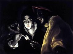 El Greco - Allegory, Boy Lighting Candle in the Company of Ape and Fool