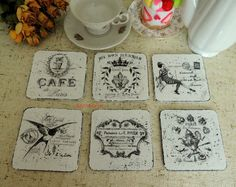 Shabby Chic Coasters Shabby Chic Vintage French Paris by decocarin Coaster Crafts, No Egg Pancakes, Tea Party Decorations, Felt Food, Toy Kitchen, Play Food, Montessori Toys, Cellophane Bags, Party Gifts