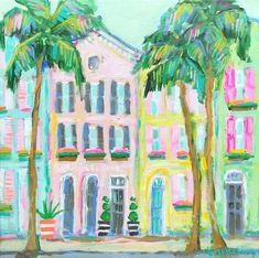 Charleston painting - rainbow row painting - rainbow row art - colorful building - abstract building painting - Charleston artist - artwork for guest bedroom - art for beach house Illustrations, Illustration Art, Painting Inspiration, Art Inspo, Building Painting, Easy Art Projects, Guache, Collor, Coastal Art