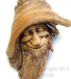 ORIGINAL WOOD SPIRIT CARVING OREGON WIZARD DRIFTWOOD GNOME ELF OOAK NANCY TUTTLE