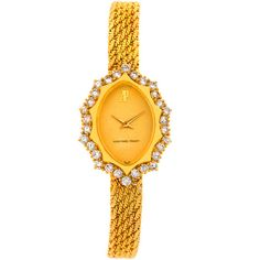 Pre-Owned Audemars Piguet Vintage 18k Yellow Gold 1.67 Ct Diamond... (218.491.030 VND) ❤ liked on Polyvore featuring jewelry, watches, no color, diamond jewelry, vintage wristwatches, gold wristwatches, vintage wrist watch and diamond watches