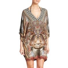 Camilla Embellished Knit Jersey Short Caftan (22,165 DOP) ❤ liked on Polyvore featuring tops, tunics, apparel & accessories, spirit, 3/4 sleeve tops, print tunic, camilla kaftan, v neck pullover and brown tunic