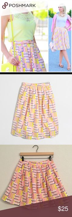 J. Crew Printed Cotton Patio Skirt ✔️Side Zip ✔️Pockets! ✔️100% Cotton ✔️Pink Lining ✔️Excellent Used Condition J. Crew Skirts