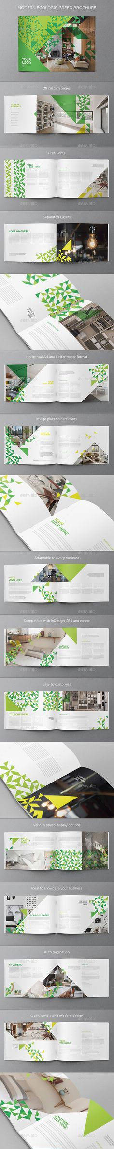 Clean, Modern and Simple Design Ecologic Green Brochure Template InDesign INDD. Id Design, Book Design, Layout Design, Company Profile Design, Ecology Design, Graphic Design Brochure, Folder Design, Catalog Design, Brochure Template