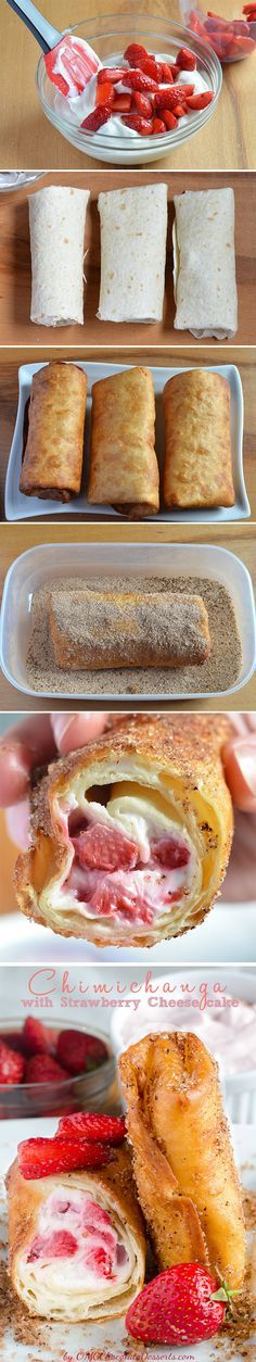 Strawberry Cheesecake Chimichangas Recipe ~ Cheesecake filing with fresh strawberries, rolled in tortillas and coated with cinnamon-sugar.