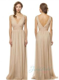 Fashion new v neckline long chiffon bridesmaid gowns,plunging v neckline with ruched bodice,sexy deep low v back,flowy floor length chiffon skirt.zipper up closure. Silhouette : Column Neck: V neck Train: Floor Length Sleeve length: Sleeveless Materials: Charmeuse,Chiffon Back: Zipper up Full Lined: Full Boning: Yes Built-in Bra: Yes Shown Color: nude Embellishment: Ruched Occasion: Evening,celebrity ,school prom,Party,Graduation,homecoming,special occasion dresses,college party,Wedding…