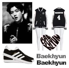 """#Baekhyun!!"" by chocolate-thunda12 ❤ liked on Polyvore featuring adidas Originals"