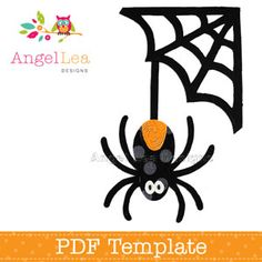 Spider and Web Applique Template