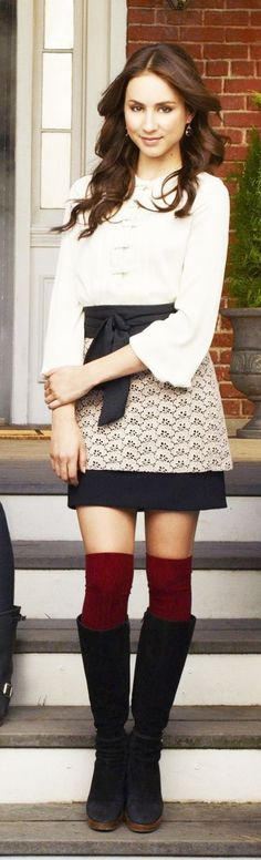 Spencer Hastings PLL white blouse, black skirt with white lace, red knee socks, navy high boots