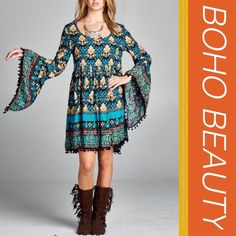"HP 12/20BOHO BEAUTY WITH BELL SLEEVES Boho floral print round neck dress with bell sleeves and ball fringe detail. Too cute! Poly/cotton/rayon blend.                                          ♦️S: bust 36""♦️M:bust 38""♦️L: bust 40"" ♦️LENGTH: 36.5"" PLEASE DO NOT BUY THIS LISTING, I will personalize one for you. tla2 Dresses"