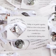 """Ring-for-a-Kiss Favor Cards   Each metal bell comes with a card that states: """"Today, as we gather together, wish us a love to last forever!"""