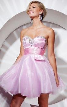 Pink A-Line/Princess Strapless,Sweetheart Empire Short/Mini Sleeveless Beading,Bow Organza Zipper Up Prom Dresses Dress