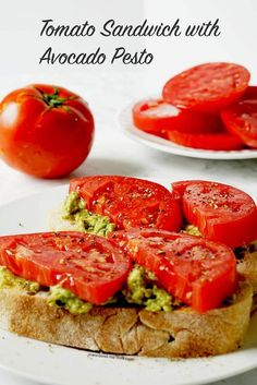 Tomato Sandwich - bright fresh tomatoes, salty pesto, creamy avocado? The perfect sandwich! #Vegetarian