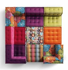 Mah Jong sofa. Roche Bobois. Wedding Tent version could be using straw bales wrapped in fabric using The Painted House rollers