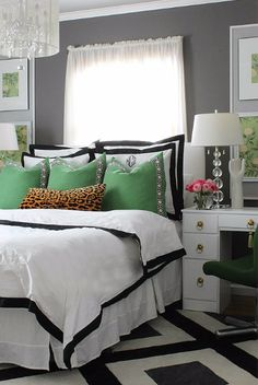 Black + White + Green + #Monograms + #Leopard, love this combo! // Bliss-AtHome.com- #BlackAndWhite