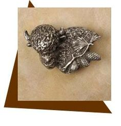 Anne at Home Buffalo with Pine Spray Cabinet Knob/Left