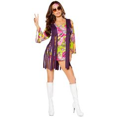 Dazed and Confused Women's Hippie Halloween Costume ($69) ❤ liked on Polyvore featuring costumes, hippie halloween costumes, sexy women costumes, sexy womens halloween costumes, women's halloween costumes and hippie costume