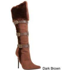 Funtasma Women's 'Viking-102' Knee High Boot With Faux Fur Cuff and... ($65) ❤ liked on Polyvore featuring costumes, brown, adult ladies halloween costumes, faux fur costume, adult halloween costumes, lady halloween costumes and adult women costumes