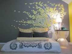 Grey and Yellow Bedroom @ Home Renovation Ideas
