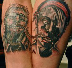husband and wife walking dead tattoos. Walking Dead Tattoo, Couple Tattoos, I Tattoo, Tatting, Husband, January, Couple Tattoos Love, Tattoos For Couples, Needle Tatting