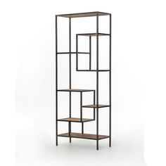 This contemporary reclaimed wood bookcase features multiple shelves at varying heights for a modern, decorative display. Enjoy the display options provided by the open back compartments.