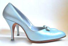 Pearlescent Powder Blue Stiletto Heel Shoes circa 1960s - Dorothea's Closet Vintage