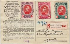 Belgium - Red Cross stamps on a postcard from 1915.