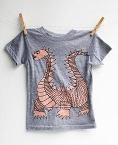 Elliot the dragon - kid's hand printed t-shirt