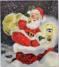 #562 50s Hallmark Santa Goes Down Chimney-Vintage Christmas Greeting Card