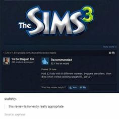 "And finally, this review that pretty much sums it up: | 16 Photos That Prove ""The Sims"" Is The Weirdest Fucking Game"