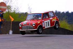 This Classic Mini Cooper is airborne!
