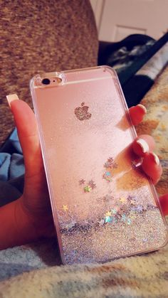 Sparkly phone case, iPhone, 6S, glitter, rose gold, silver, stars, pretty