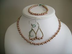 18 inch pink copper bead necklace w bracelet by lindaschiefer, $18.00