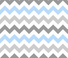 Gray Blue Chevron fabric by stickelberry on Spoonflower - custom fabric