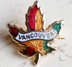 Vancouver + red/yellow/green maple leaf [Canada brooch / pin]