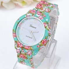 Flowers green fashion girl teen cute plastic band watch