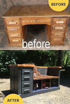 Repurposed Desk for Upcycled Bank Idea - Upcycled Furniture - # Bank # for . - Repurposed Desk for Upcycled Bench Idea – Upcycling Furniture – # Bench # for … – Furnishin - Old Furniture, Refurbished Furniture, Repurposed Furniture, Furniture Projects, Rustic Furniture, Furniture Makeover, Painted Furniture, Furniture Design, Bedroom Furniture