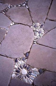 Riverstone mosaics between flagstones.