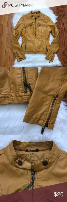 Jou Jou Mustard Jacket LIKE NEW! Jou Jou mustard faux leather biker jacket. Jou Jou Jackets & Coats