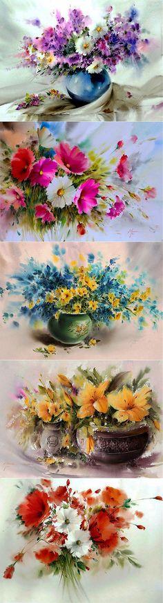Пусть в Сердце распускаются Цветы... Прекрасные акварели Mohammad Yazdchi. С первым днем весны! | Люблю flower ✿✿ܓ | Постила