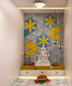 Re-define your traditional pooja room designs with modern touch. Kitchen Room Design, Home Room Design, Bedroom Closet Design, Indian Bedroom Design, Temple Design For Home, Mandir Design, Pooja Room Door Design, Modern Exterior House Designs, Living Room Tv Unit Designs