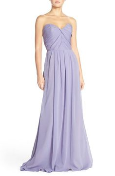 Hayley Paige Occasions Strapless Crinkle Chiffon A-Line Gown available at #Nordstrom