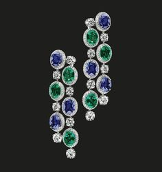 Emerald, Sapphire and Diamond Earrings | Timeless elegance by the House of Tabbah.  Sapphires 16.15 cts Diamonds 12.39 cts Emeralds 10.81 cts  #houseoftabbah #tabbah