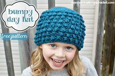 Free Crochet Pattern in sizes Newborn to Adult Large - Bumpy Day Hat - a lovely textured hat!