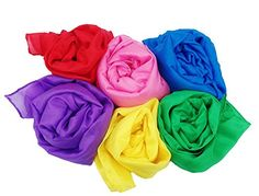 """Play Scarves + Storage Bag for Easy Clean Up : Perfect for Kids Pretend and Creative Play , Dress Up and Childhood Fun , 35"""" Large Bundle of 6 Bright Colored Silks by Simply Sweet Fabric"""