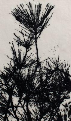 Patterns in Nature 3 by Jo Hannah.   Underglaze on Porcelain. #Ceramics #Printmaking